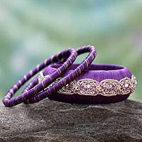 Handcrafted bangle bracelets, 'Royal Purple' (set of 3) - Beaded Artisan Crafted Bangle Bracelets (Set of 3)