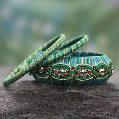 Handcrafted bangle bracelets, 'Dreams in Aqua' (set of 3) - Fair Trade Embellished Bangle Bracelets (Set of 3)