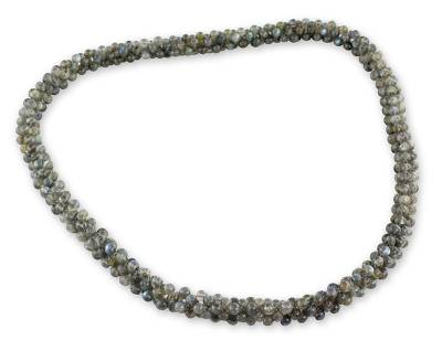 Labradorite beaded long necklace, 'Love Song' - Natural Labradorite Necklace hand Crafted Beaded Jewelry