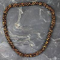 Tiger's eye beaded long necklace, 'Love Song' - Tiger's eye beaded long necklace