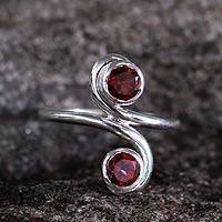 Garnet cocktail ring, 'Passion's Blush' - Garnet cocktail ring