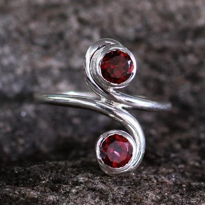 Garnet cocktail ring, 'Passion's Blush' - Garnet cocktail ring