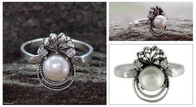 Cultured pearl cocktail ring, 'Bridal Bouquet' - Sterling Silver Cocktail Ring with Pearl Bridal Jewelry