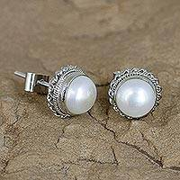 Cultured pearl stud earrings, 'Blossoming Purity' - Sterling Silver Floral Pearl Earrings Hand Made from India