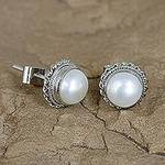 Cultured Pearl Earrings in Sterling Silver from India, 'Blossoming Purity'