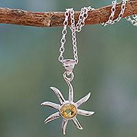 Citrine pendant necklace, 'Golden Sun' - Citrine and Sterling Silver Necklace from India Jewelry