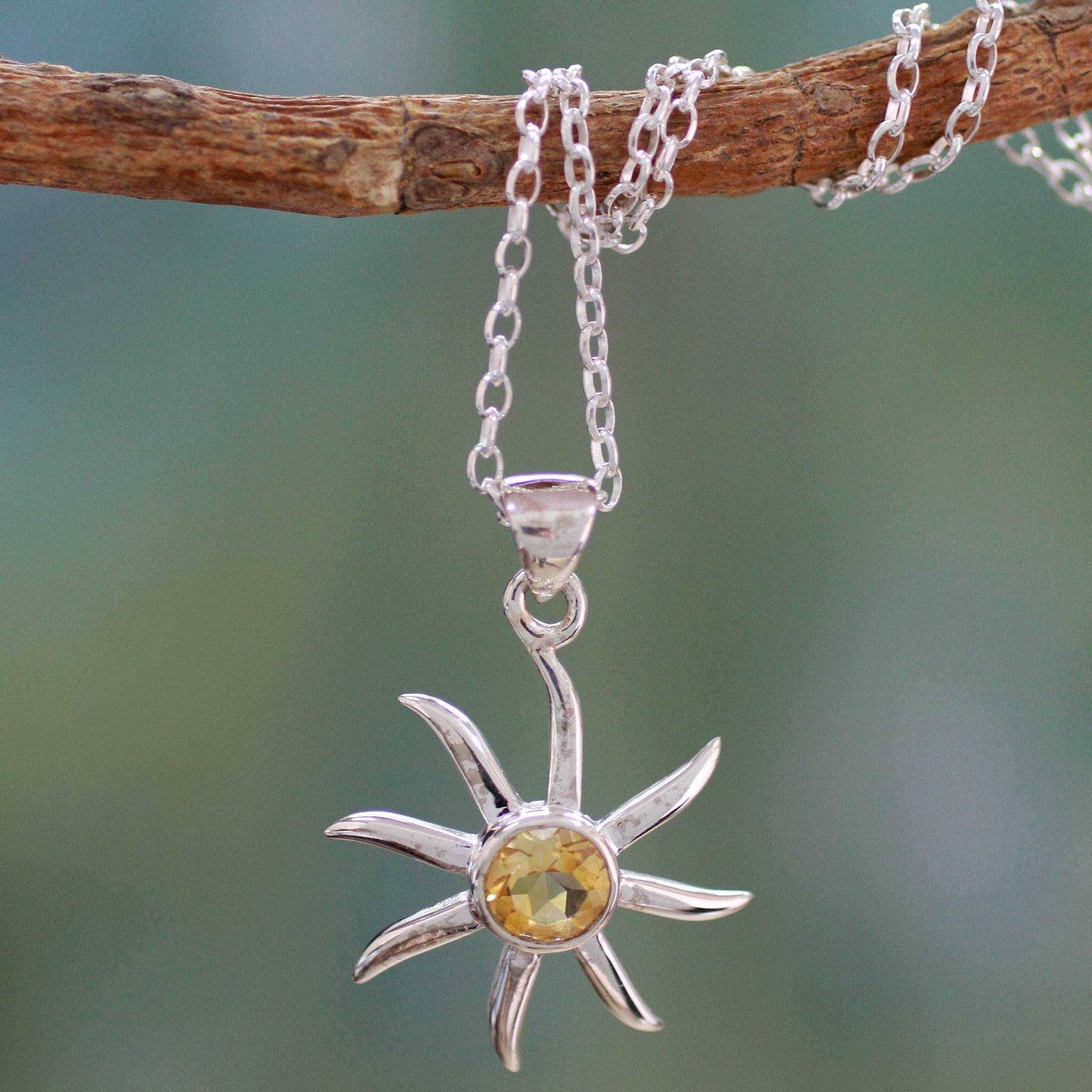 Raw Citrine with sun charm necklace
