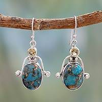 Citrine and turquoise dangle earrings, 'Goddess'