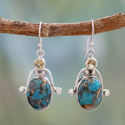 Citrine and turquoise dangle earrings, 'Goddess' - Citrine and Comp Turquoise Earrings Modern Silver Jewelry