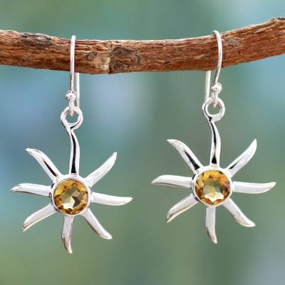 Citrine dangle earrings, 'Golden Sun' - Citrine dangle earrings