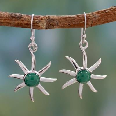 Malachite dangle earrings, 'Verdant Sun' - Malachite dangle earrings