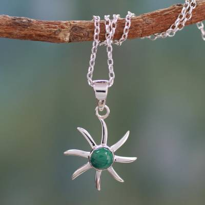 Malachite pendant necklace, 'Verdant Sun' - Malachite pendant necklace