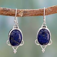 Lapis lazuli dangle earrings, 'Midnight Constellations'
