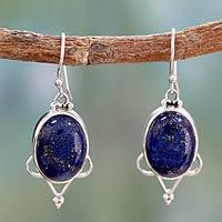 Lapis lazuli dangle earrings, 'Midnight Constellations' - Lapis lazuli dangle earrings