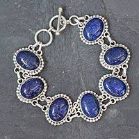 Lapis lazuli link bracelet, 'Heavenly Love' - Lapis lazuli link bracelet