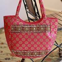 Shoulder bag, 'India Rose' - Shoulder bag