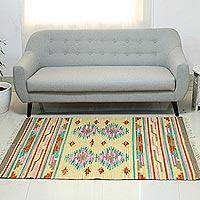 Wool dhurrie rug, 'Indian Roses' (4x6) - Wool dhurrie rug (4x6)