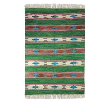 Wool dhurrie rug, 'Indian Meadows' (4x6) - Wool Dhurrie Rug (4x6) in Green, Orange and Blue