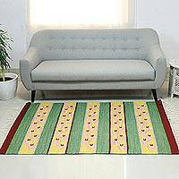 Wool dhurrie rug, 'India in Bloom' (4x6) - Wool dhurrie rug (4x6)