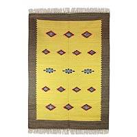 Wool dhurrie rug, 'Sunshine and Starlight' (4x6) - Wool dhurrie rug (4x6)