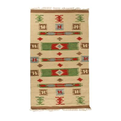Wool dhurrie rug, 'Tribal Sunshine' (4x6) - Wool dhurrie rug (4x6)