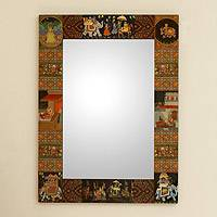 Decoupage mirror, 'Mughal Hunting Expedition' - Decoupage mirror