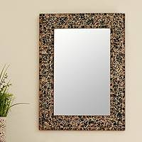 Mosaic glass mirror, 'Forest Lightning' - Glass wall mirror
