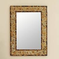 Mosaic glass mirror, 'Persian Mosaic' - Handmade Mosaic Glass Wall Mirror from India