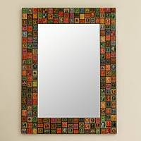 Decoupage wall mirror, 'Stamp Collector' - Decoupage wall mirror