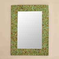 Glass mosaic wall mirror, 'Sumptuous Summer Light' - Handmade Modern Glass Mirror from India 24 x 18 Inches