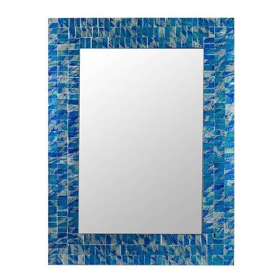 Mosaic glass mirror, 'Silver Beach' - Mirror