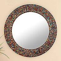 Glass mosaic wall mirror, 'Amethyst Halo' - Indian Round Mosaic Halo Wall Mounted Mirror