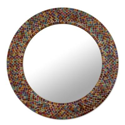 Glass mosaic wall mirror, 'Amethyst Halo' - Mirror