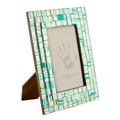 Mosaic glass photo frame, 'Summer Memories' (4x6) - Handmade Mosaic Glass Photo Frame (4x6)