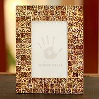 Glass mosaic photo frame, 'Golden Fireflies' (4x6) - Fair Trade Glass Mosaic Picture Frame from India