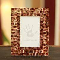 Mosaic glass photo frame, 'Golden Wine' (4x6) - Hand Crafted Mosaic Glass Photo Frame (4x6)