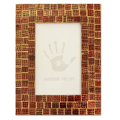 Glass mosaic photo frame, 'Golden Wine' (4x6) - Hand Crafted Mosaic Glass Photo Frame (4x6)