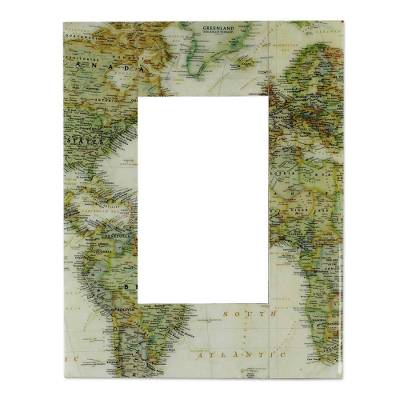 Decoupage photo frame, 'Globetrotter' (4x6) - Decoupage photo frame (4x6)