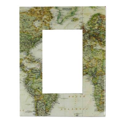Decoupage photo frame (4x6) - Globetrotter | NOVICA