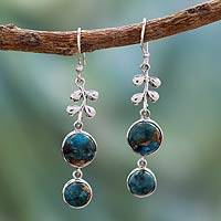 Sterling silver dangle earrings, 'Sweet Blueberries'