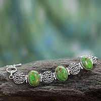 Sterling silver link bracelet, 'Verdant Treasure' - Sterling silver link bracelet