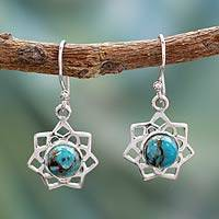 Sterling silver dangle earrings, 'Star of Gujurat' - Turquoise Color Earrings Hand Crafted in Sterling Silver