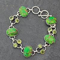 Peridot link bracelet, 'Forest Pebbles' - Peridot link bracelet