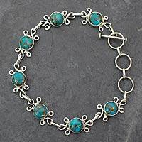Sterling silver flower bracelet, 'Daisy Chain' - Unique Sterling Silver and Turquoise Bracelet