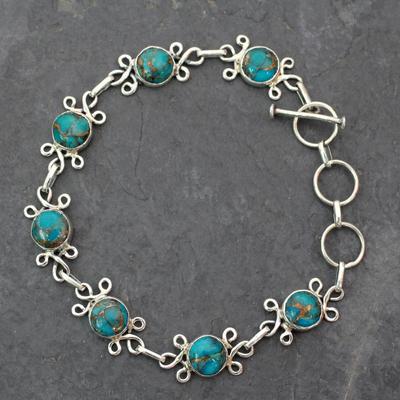 Sterling silver flower bracelet, 'Daisy Chain' - Sterling Silver and Composite Turquoise Bracelet