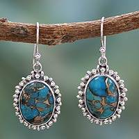 Sterling silver dangle earrings, 'Azure Dream' - Indian Modern Sterling Silver Dangle Earrings