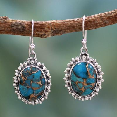 Sterling silver dangle earrings, 'Azure Dream' - Indian Modern Sterling Silver Dangle Earrings