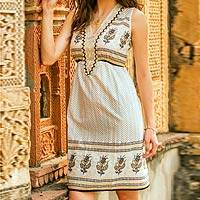 Beaded cotton dress, 'Golden Magic' - Beaded Cotton Block Print Sleeveless Dress with Sequins