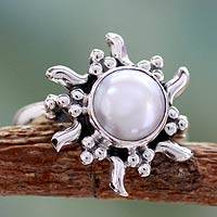 Cultured pearl cocktail ring, 'Quiet Sun'