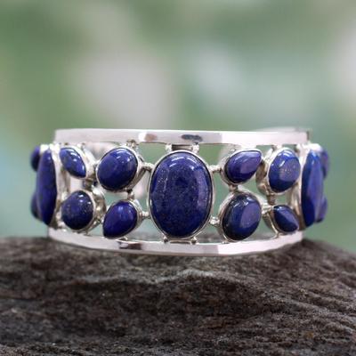 Lapis lazuli cuff bracelet, 'Summer Sea' - Lapis lazuli cuff bracelet